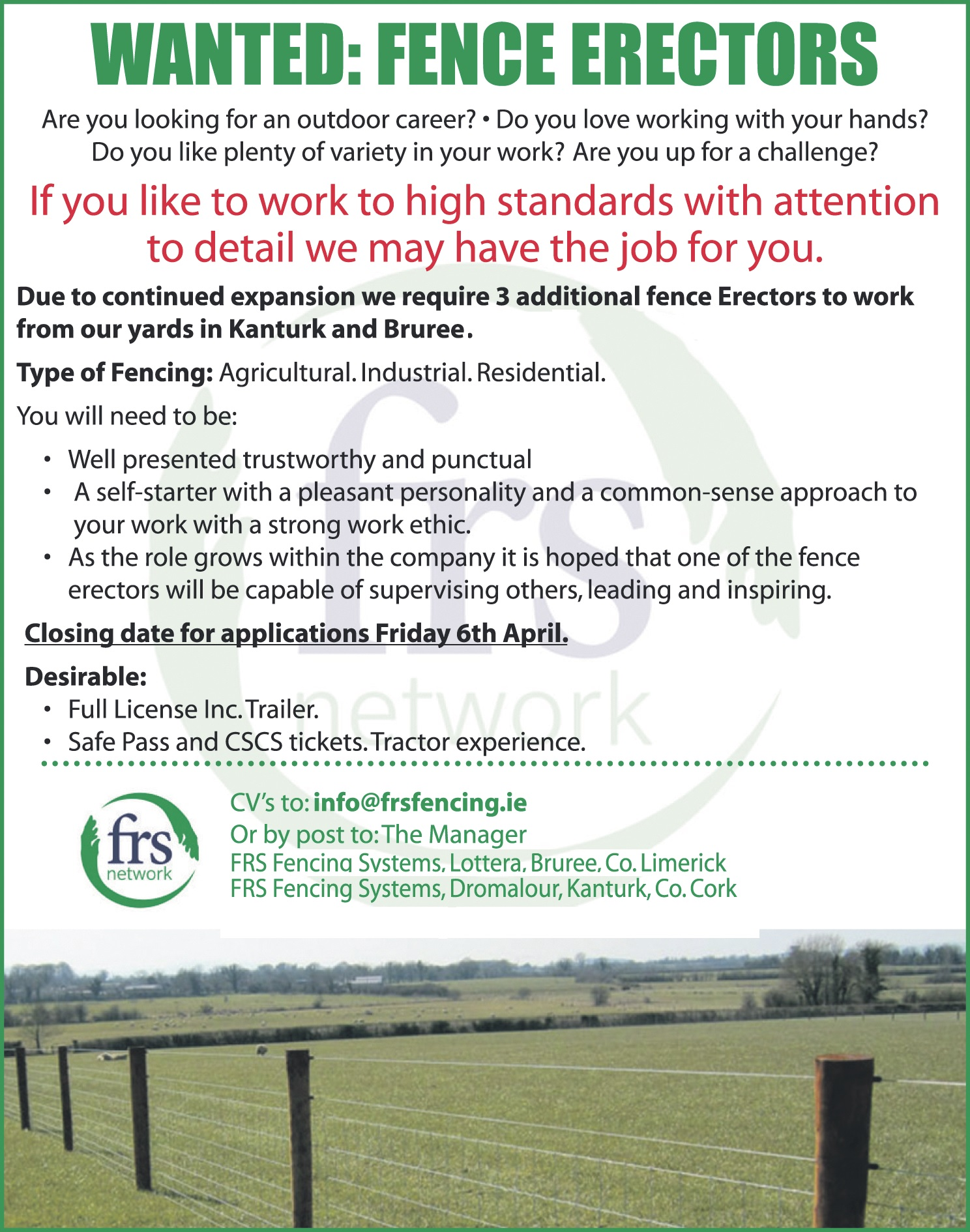 wanted: fence erectors